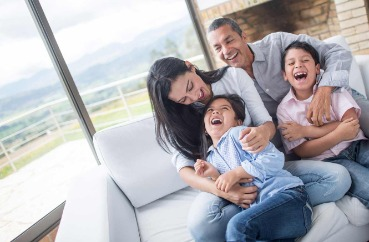 family, laughing, couple, children, indoors, home